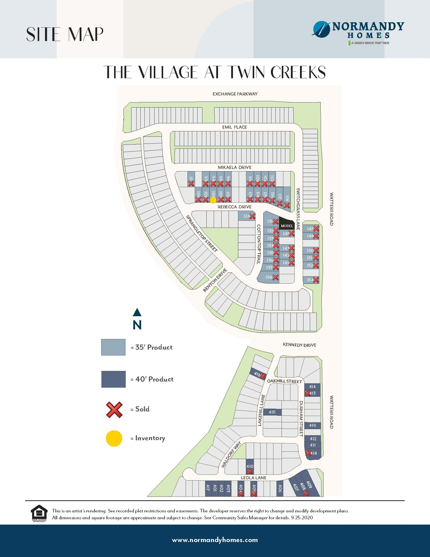 The Village at Twin Creeks Site Map